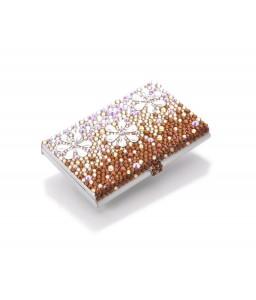 Gradual Bling Swarovski Crystal Business Card Case - Brown