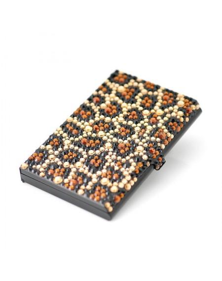 Leopard Bling Swarovski Crystal Business Card Case - Black