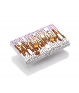 Symphony Bling Swarovski Crystal Business Card Holder Case - Brown
