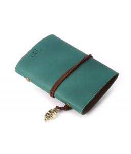 Leaf Pattern Leather Card Holder - Green