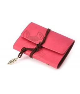 Leaf Pattern Leather Card Holder - Red