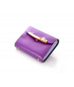 Retro Leather Business Card Case - Purple