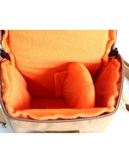 Canvas Compact System Camera Shoulder Bag - Khaki