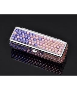 Gradation Swarovski Crystal Lipstick Case With Mirror - Purple