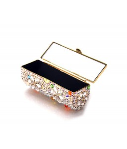 Petal Drops Bling Swarovski Crystal Lipstick Case With Mirror