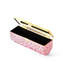 Scatter Bling Swarovski Crystal Lipstick Case With Mirror - Pink