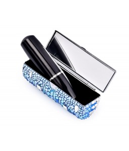 Medley Swarovski Crystal Lipstick Case With Mirror - Blue