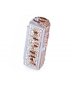 Medley Swarovski Crystal Lipstick Case With Mirror - Brown