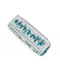 Medley Swarovski Crystal Lipstick Case With Mirror - Green