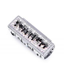 Medley Swarovski Crystal Lipstick Case With Mirror - Black