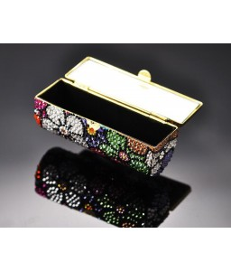 Sweet Bonquet Swarovski Crystal Lipstick Case With Mirror - Black