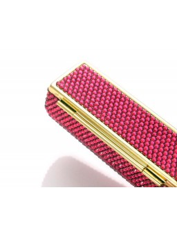 Classic Bling Swarovski Crystal Lipstick Case With Mirror - Magenta