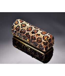 Leopardo Bling Swarovski Crystal Lipstick Case With Mirror