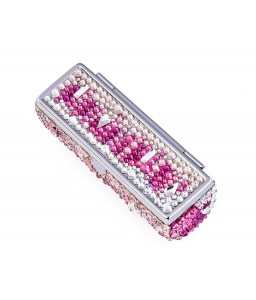 Medley Swarovski Crystal Lipstick Case With Mirror - Pink
