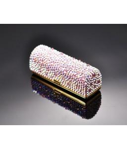 Scatter Bling Swarovski Crystal Lipstick Case With Mirror - White