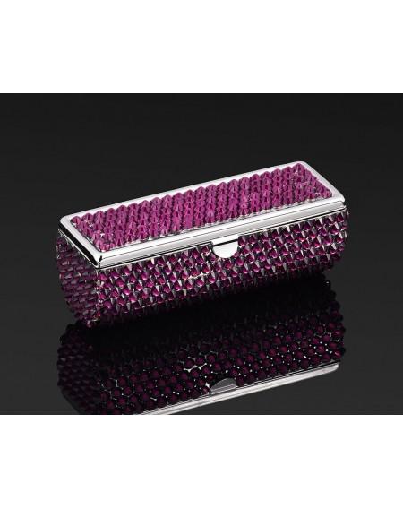 Classic Bling Swarovski Crystal Lipstick Case With Mirror - Purple