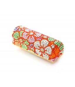 Sweet Bonquet Swarovski Crystal Lipstick Case With Mirror - Red