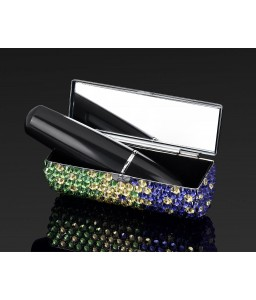 Gradation Swarovski Crystal Lipstick Case With Mirror - Green & Purple