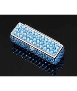 Classic Bling Swarovski Crystal Lipstick Case With Mirror - Sky Blue