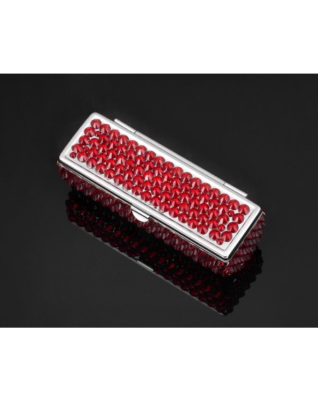 Classic Bling Swarovski Crystal Lipstick Case With Mirror - Red