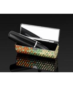 Gradation Swarovski Crystal Lipstick Case With Mirror - Green & Orange