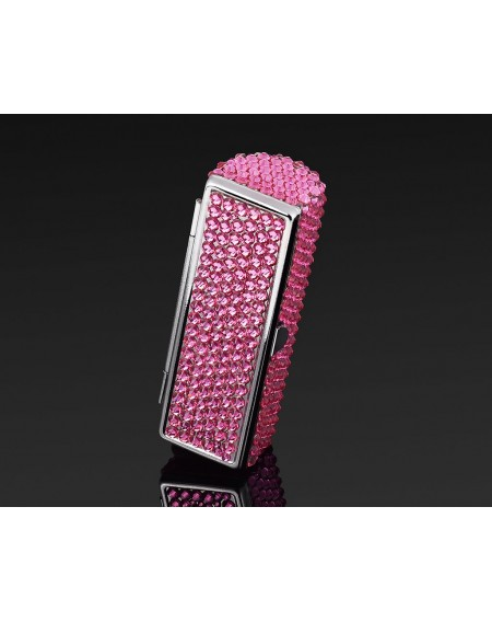 Classic Bling Swarovski Crystal Lipstick Case With Mirror - Rose Red